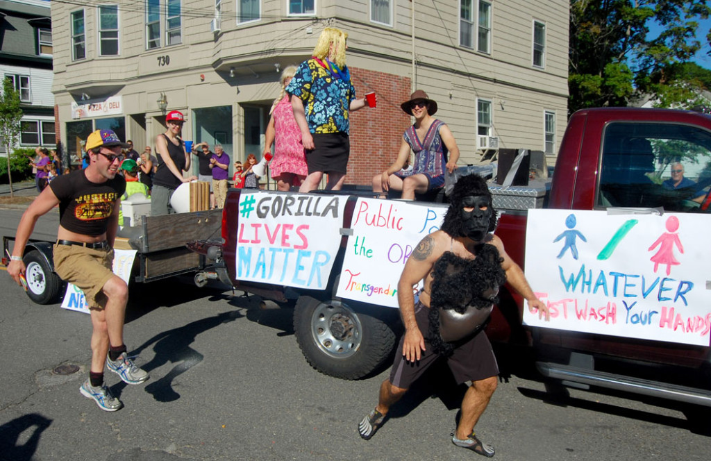 """The """"#Gorilla Lives Matter"""" float in the 2016 Beverly Farms Horribles Parade. (Greg Cook)"""