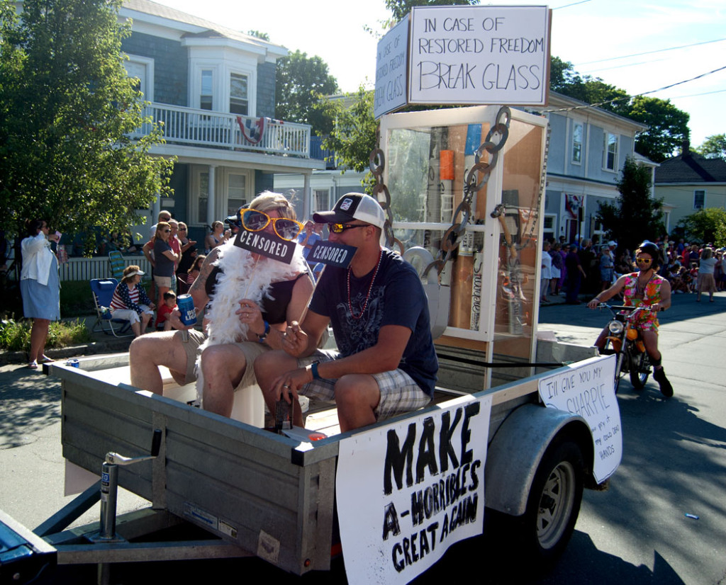 """The 2017 Beverly Farms Horribles Parade: """"In case of restored freedom Break Glass,"""" """"Make A-horribles great again."""" (Greg Cook)"""