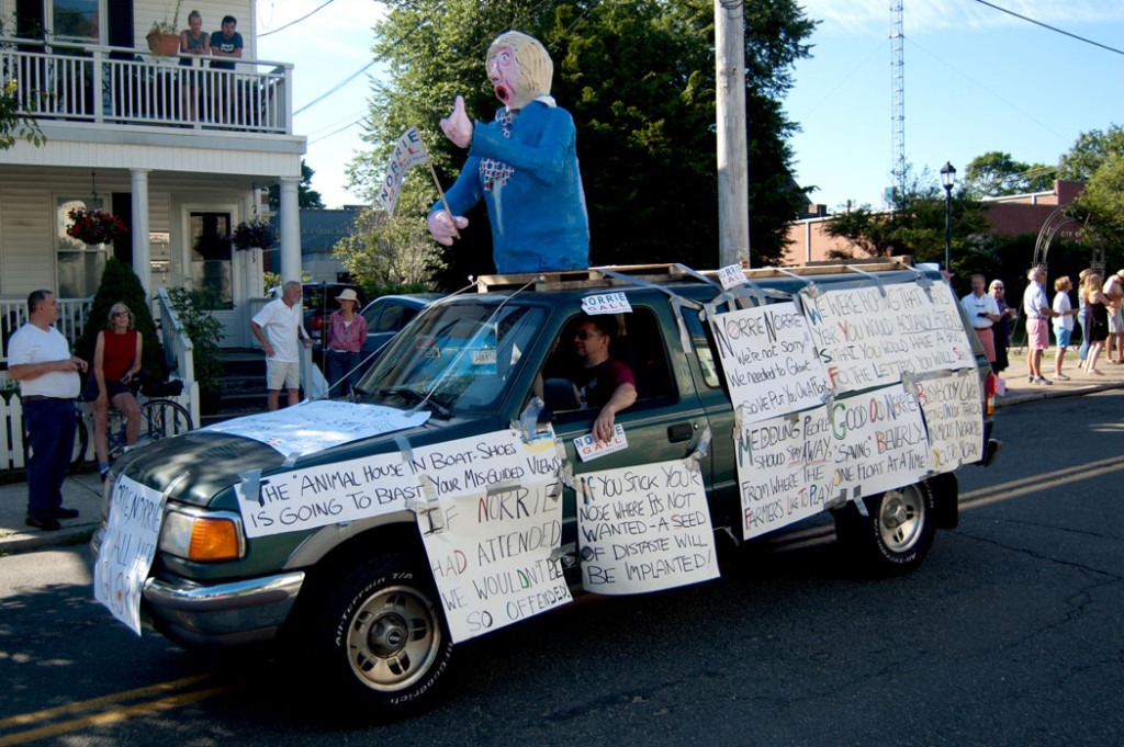 A truck featuring an effigy of Norrie Gall, who was the target of several floats in the Beverly Farms Horribles Parade after she accurately criticized the previous year's parade for being racist, July 4, 2017. (Greg Cook)