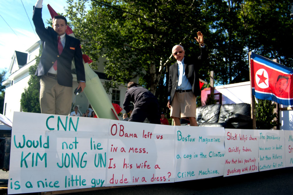 One 2017 Beverly Farms Horribles Parade float connects Bernie Sanders, Hillary Clinton and North Korea's Kim Jong Un. (Greg Cook)