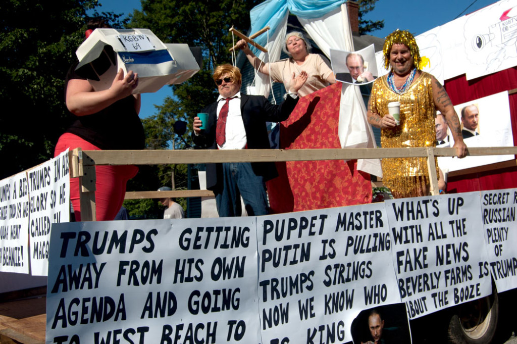 """The 2017 Beverly Farms Horribles Parade: """"Puppet Master Putin Is Pulling Trump's Strings / Now We Know Who Is King."""" (Greg Cook)"""