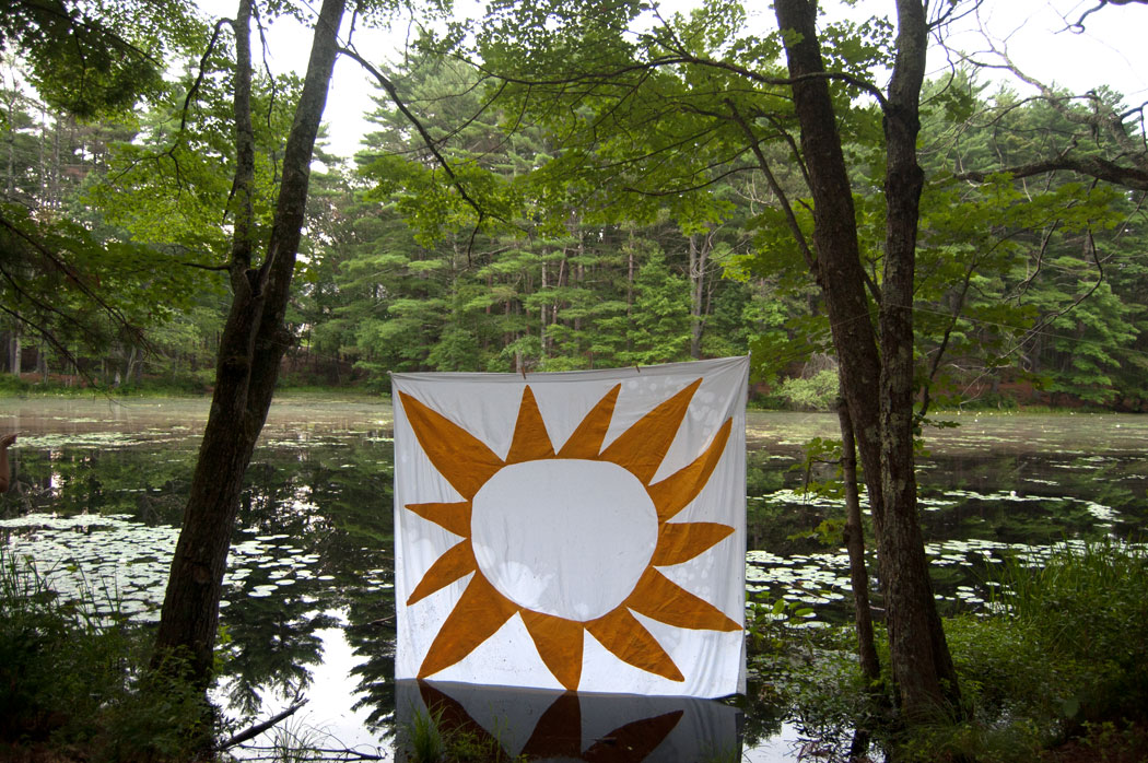 Sun Banner by Greg Cook displayed at Harold Parker State Forest in Andover, Massachusetts, July 22, 2017. (Greg Cook)