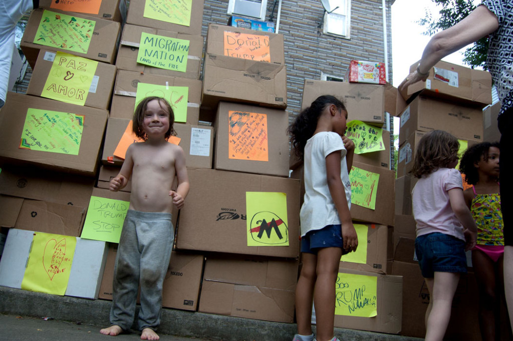 """The wall of boxes at Wee The People's """"Protestival,"""" July 8, 2017. (Greg Cook)"""