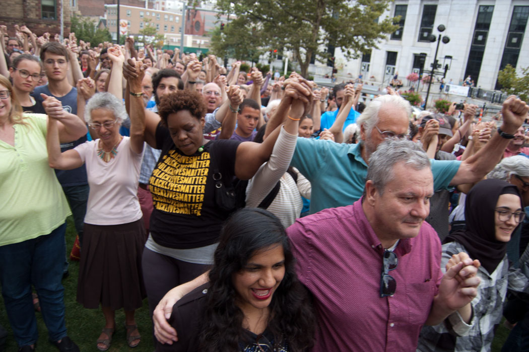 Cambridge Stands With Charlottesville rally at Cambridge City Hall, Aug. 14, 2017. (Greg Cook)