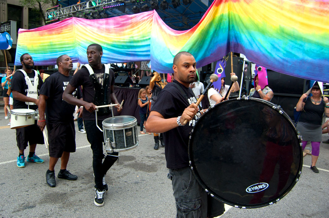 The Blackout Drum Squad leads the Foo-topia parade. (Greg Cook)