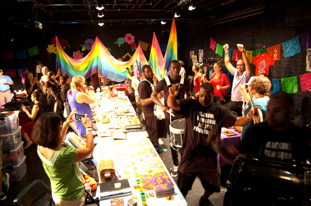 The Blackout Drum Squad leads the Foo-topia parade indoors for a bit. (Greg Cook)