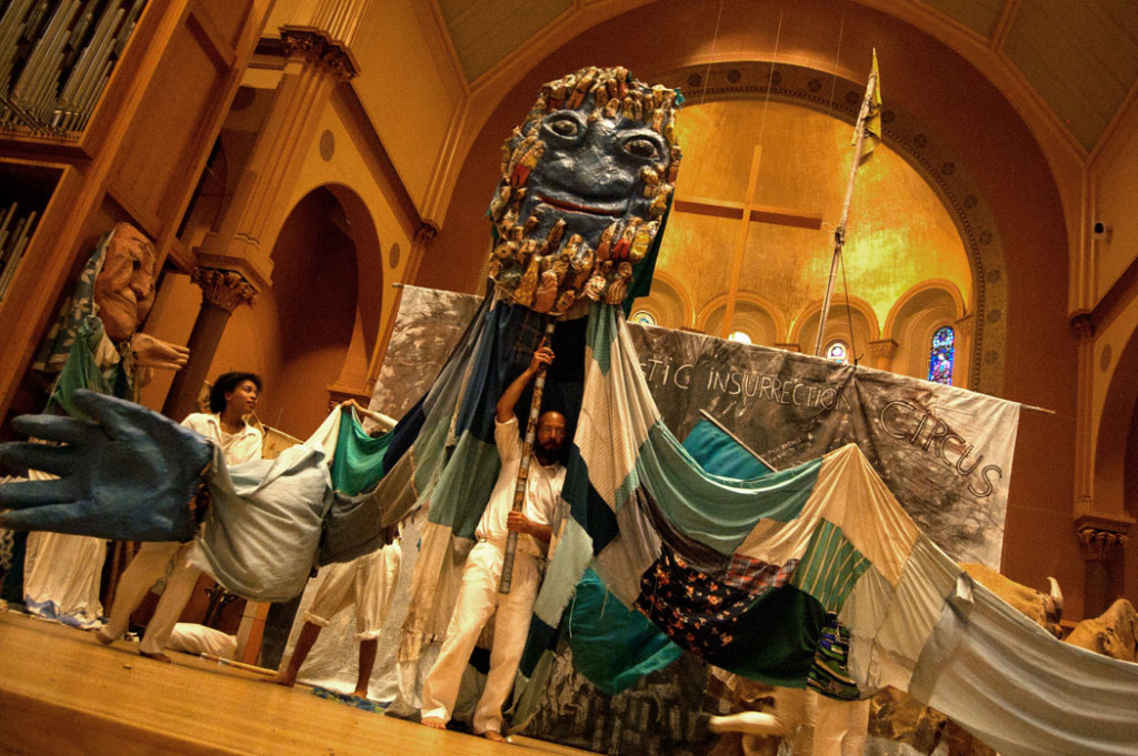 "Bread and Puppet Theater's ""Domestic Insurrection Circus"" at First Church, Cambridge, Sept. 3, 2017. (Greg Cook/Cambridge Arts Council)"