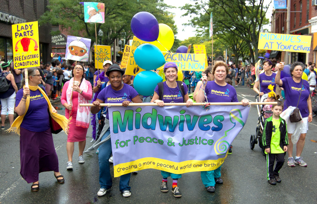 Midwives For Peace and Justice march in the Honk Parade, Sept. 8, 2017. (Greg Cook)