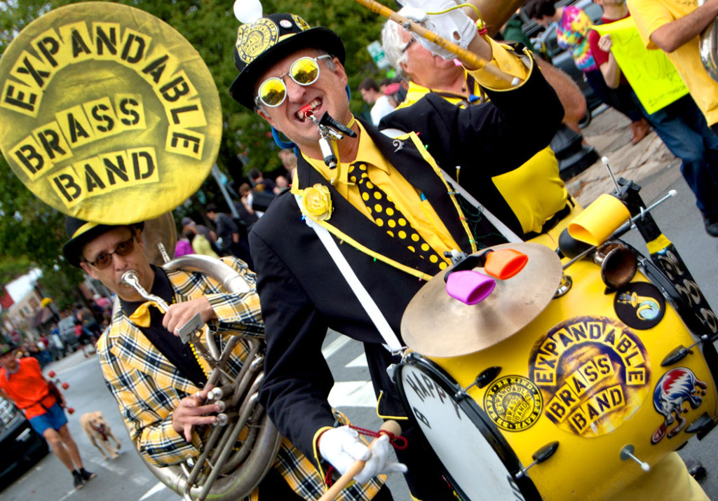 The Expandable Brass Band from Northampton, Mass., plays in the Honk Parade, Oct. 8, 2017. (Greg Cook)