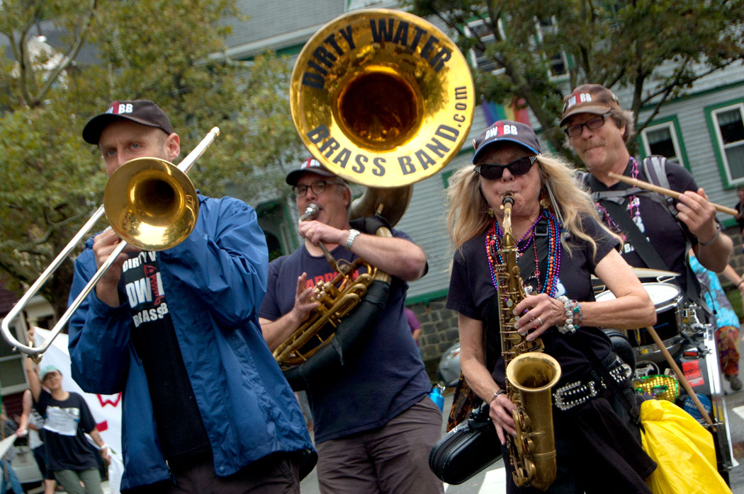 Dirty Water Brass Band of Boston plays in the Honk Parade, Sept. 8, 2017. (Greg Cook)