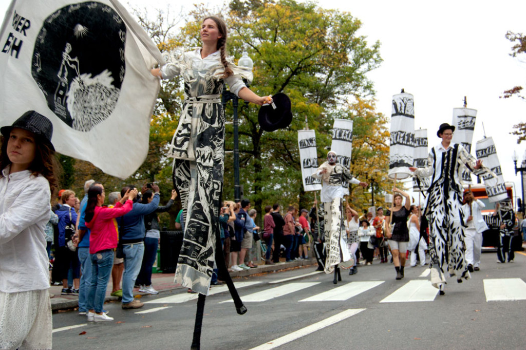 Bread and Puppet Theater from Glover, Vermont, marches in the Honk Parade, Oct. 8, 2017. (Greg Cook)