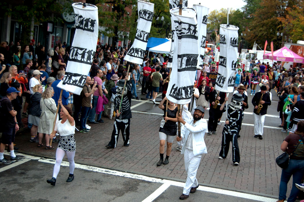 Bread and Puppet Theater from Glover, Vermont, marches in the Honk Parade, Sept. 8, 2017. (Greg Cook)