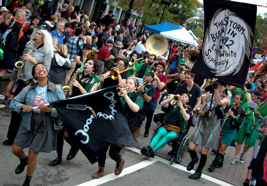 New York's Rude Mechanical Orchestra plays in the Honk Parade, Sept. 8, 2017. (Greg Cook)