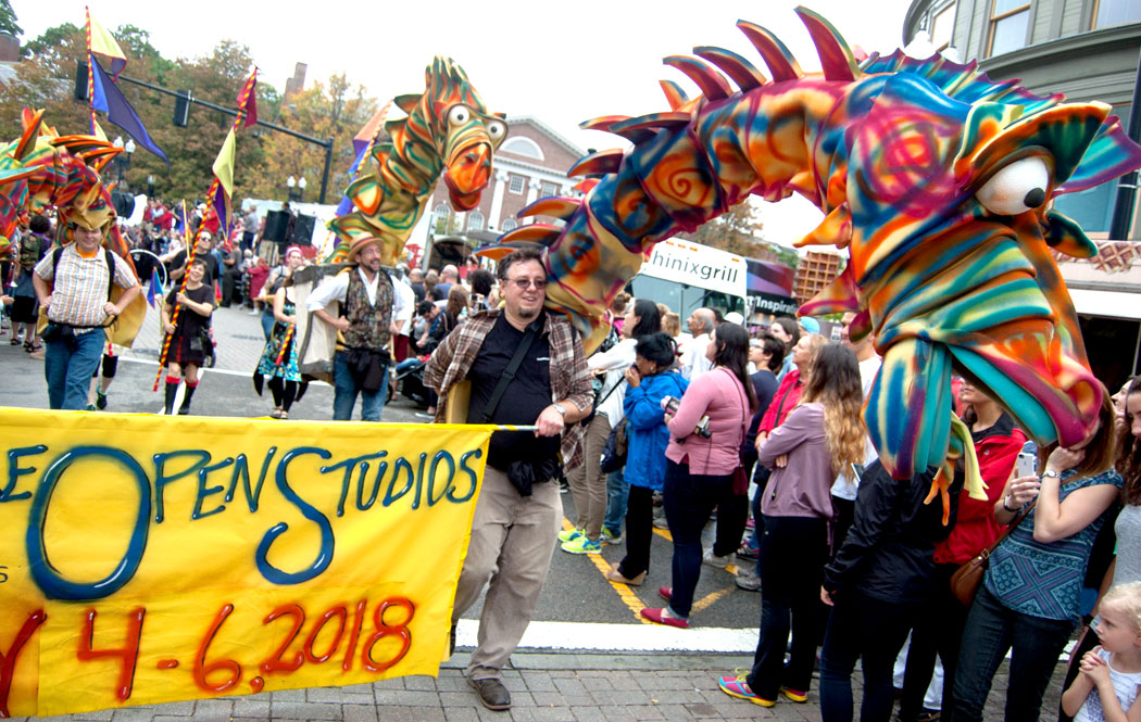 The Somerville Open Studios group marches in the Honk Parade, Sept. 8, 2017. (Greg Cook)