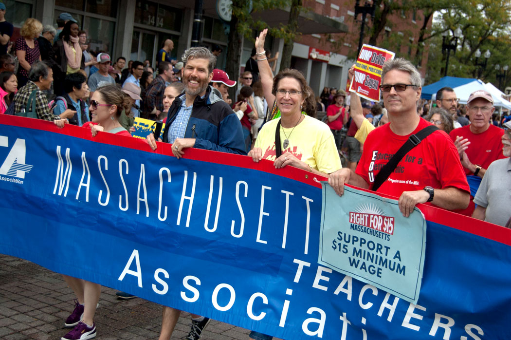 Massachusetts Teachers Association members march in the Honk Parade, Sept. 8, 2017. (Greg Cook)