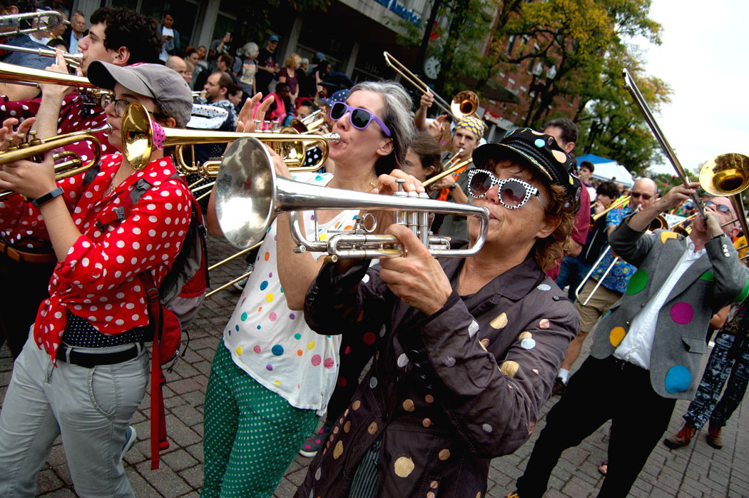 The School of Honk plays as the Honk Parade reaches Harvard Square, Cambridge, Oct. 8, 2017. (Greg Cook)