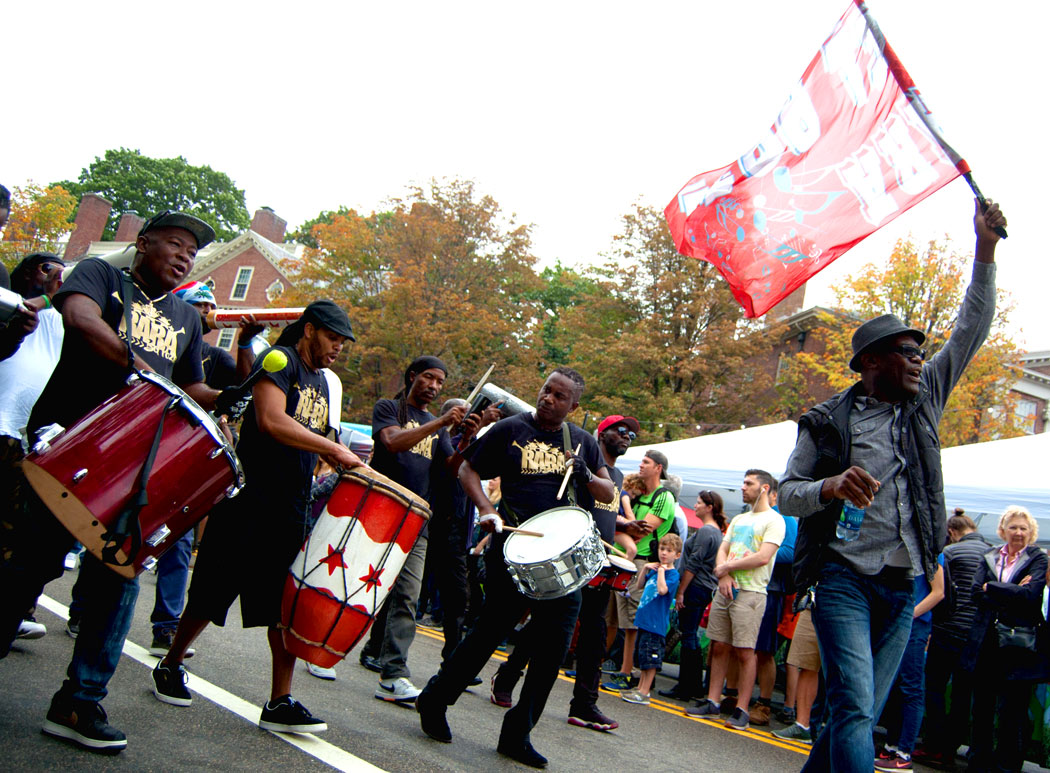 Rara Bel Poze from Boston plays in the Honk Parade, Sept. 8, 2017. (Greg Cook)