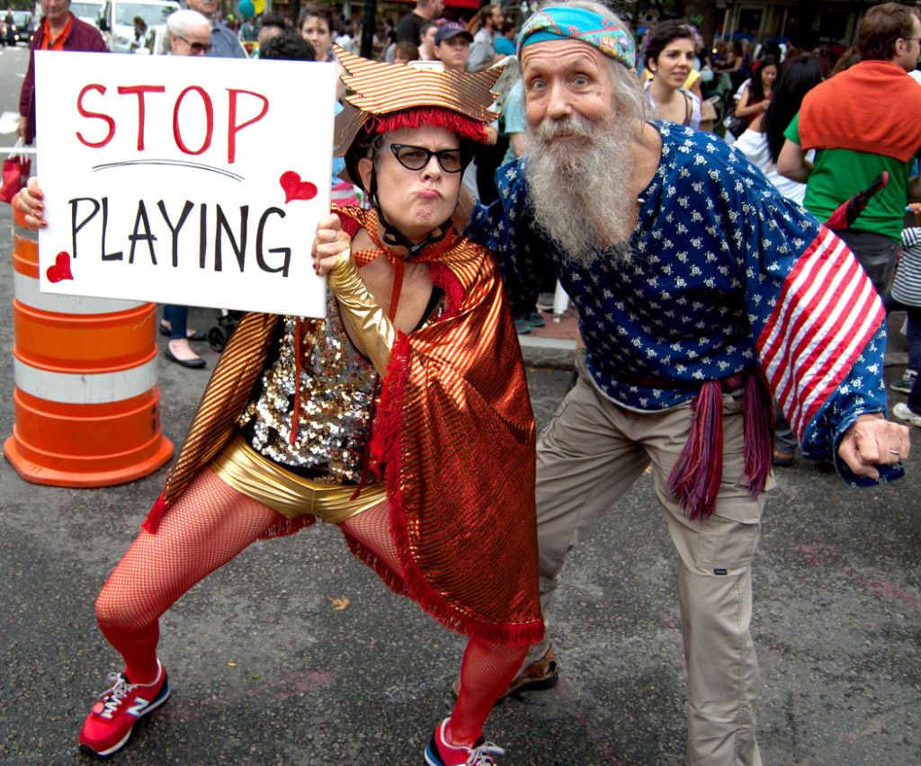 """Stop Playing."" The end of the Honk Parade, Oct. 8, 2017. (Greg Cook)"