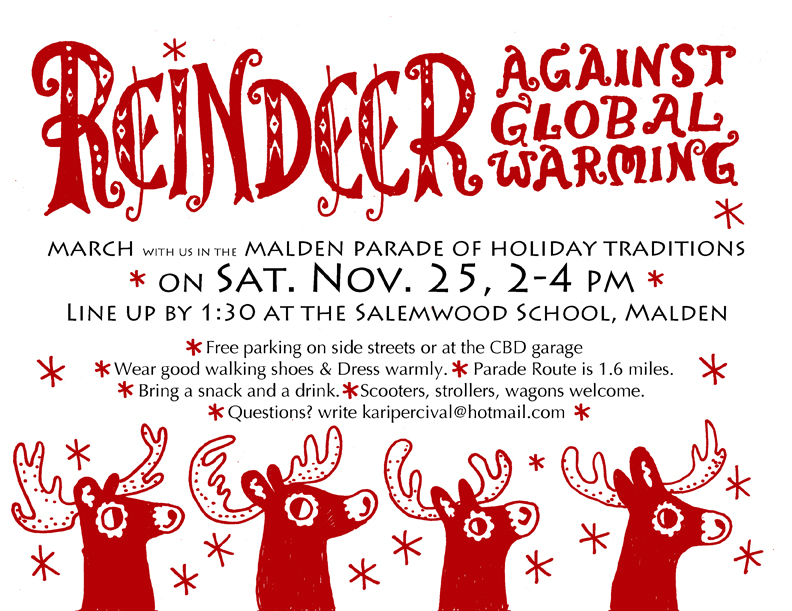 """Reindeer Against Global Warming / Save Winter"" in Malden Parade of Holiday Traditions. (Graphic by Kari Percival)"