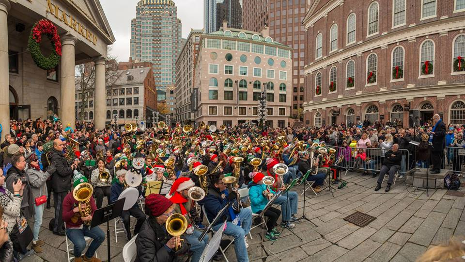Boston TubaChristmas at Faneuil Hall. (Courtesy)