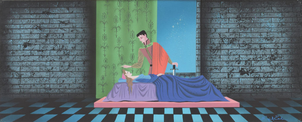 """Eyvind Earle: Sleeping Beauty and Prince Phillip concept painting from """"Sleeping Beauty"""" (1959). (Courtesy RR Auction)"""