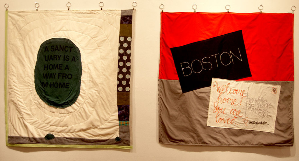 Karen Krolak and Nicole Harris's banners. (Greg Cook)x