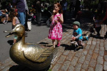 "Nancy Schön ""Make Way for Ducklings"" sculptures in Boston's Public Garden. (Greg Cook)"