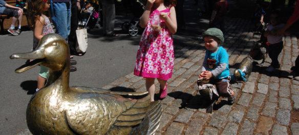 """Nancy Schön """"Make Way for Ducklings"""" sculptures in Boston's Public Garden. (Greg Cook)"""