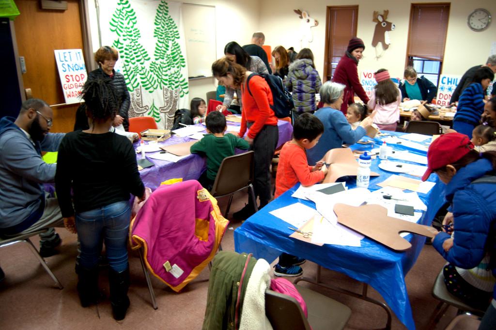 Reindeer mask making workshop at Malden Public Library, Nov. 18, 2017. (Greg Cook)