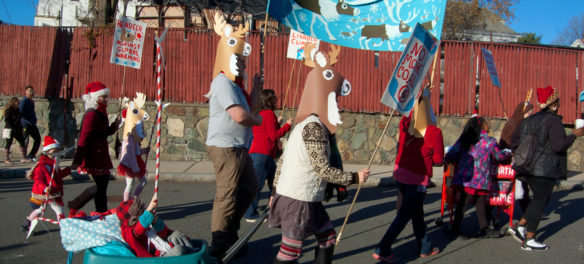 """Reindeer Against Global Warming"" group in Malden's Parade of Holiday Traditions, Nov. 25, 2017. (Greg Cook)"