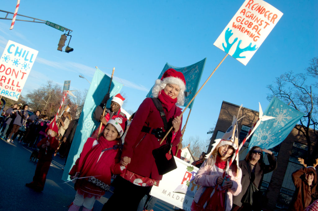 """""""Reindeer Against Global Warming"""" group in Malden's Parade of Holiday Traditions, Nov. 25, 2017. (Greg Cook)"""