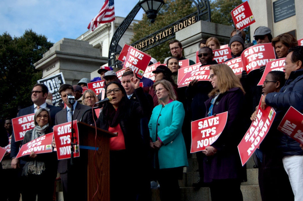 """Patricia Montes, executive director of Centro Presente, speaks at the """"Save Temporary Protected Status Now"""" rally at the Massachusetts State House, Nov. 8, 2017. (Greg Cook)"""
