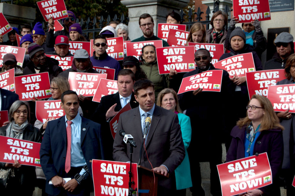 """Massachusetts State Rep. Adrian Madaro of East Boston speaks at the """"Save Temporary Protected Status Now"""" rally at the Massachusetts State House, Nov. 8, 2017. (Greg Cook)"""