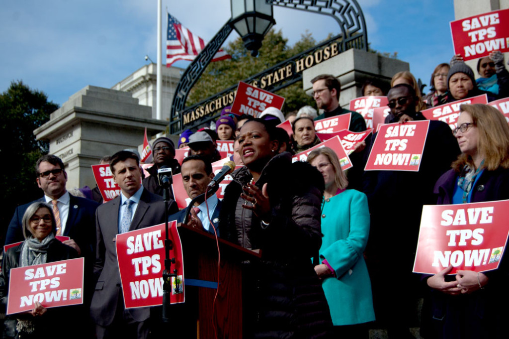 "Massachusetts State Sen. Linda Dorcena Forry of Boston speaks at the ""Save Temporary Protected Status Now"" rally at the Massachusetts State House, Nov. 8, 2017. (Greg Cook)"