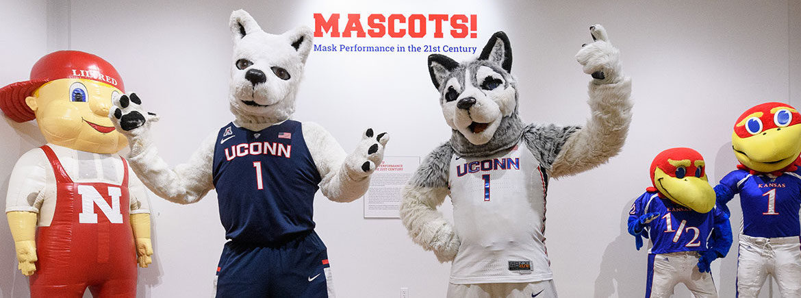 """Mascots! Mask Performance in the 21st Century,"" an exhibit at the Ballard Institute and Museum. (Courtesy Ballard Institute and Museum)"