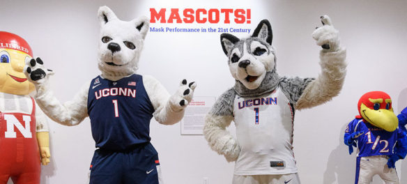 """""""Mascots! Mask Performance in the 21st Century,"""" an exhibit at the Ballard Institute and Museum. (Courtesy Ballard Institute and Museum)"""