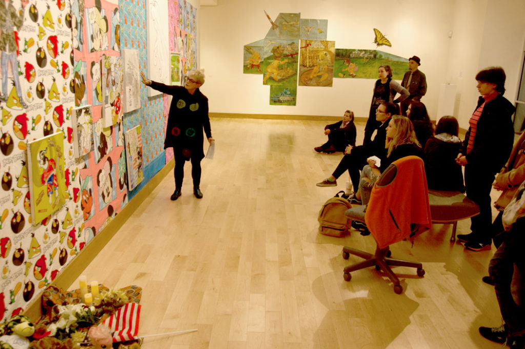 """Karen Moss speaks about her site-specific installation for """"Society In Upheaval."""" (Greg Cook)"""
