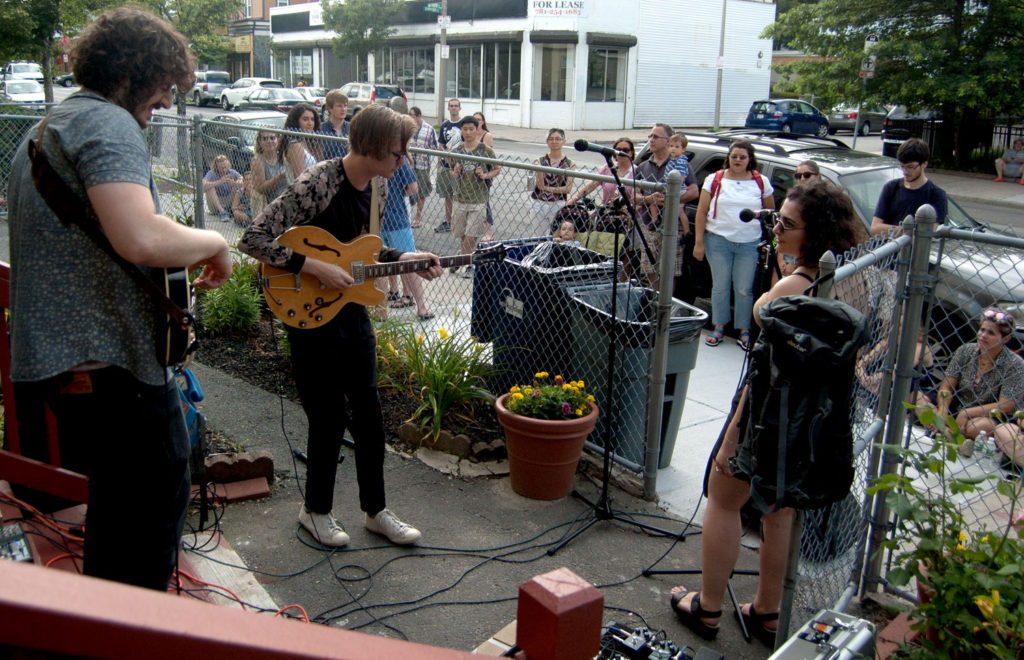 The Solars play on Centre Street during the Jamaica Plain Porchfest, Boston, July 8, 2017. (Greg Cook)