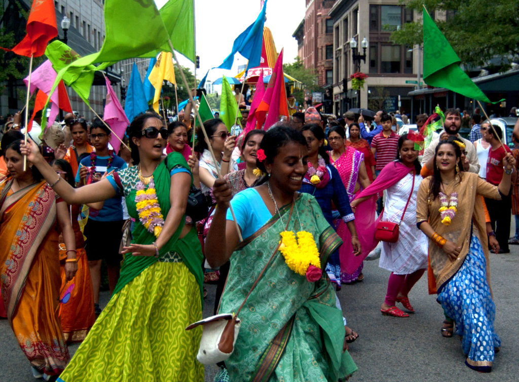 "Fesival of Chariots—or Ratha Yatra (a Sanskrit phrase that roughly translates as ""chariot procession"")—in Boston by the International Society for Krishna Consciousness Boston or ISKCON Boston or more generally known as the Hare Krishnas, July 9, 2017. (Greg Cook)"