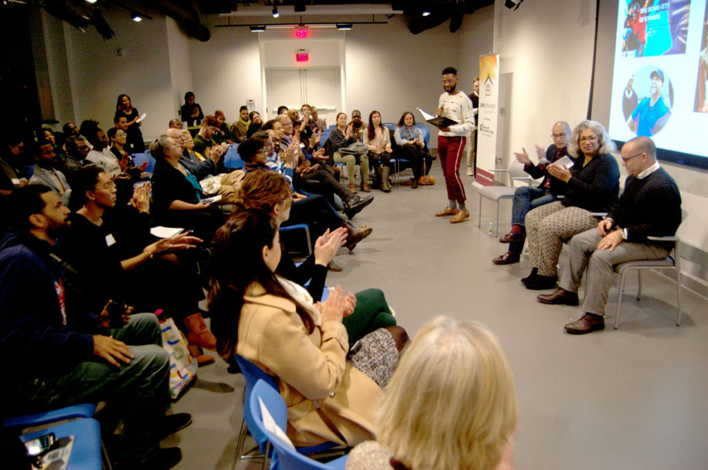 "ArtsBoston's Network for Arts Administrators of Color hosted ""Paving the Way: A Conversation with Leaders of Color in the Arts"" at the Pao Arts Center in Boston, Dec. 12, 2017. (Greg Cook)"