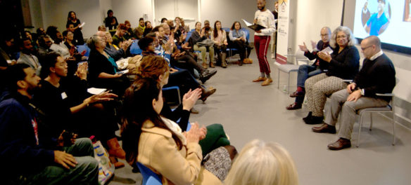 """ArtsBoston's Network for Arts Administrators of Color hosted """"Paving the Way: A Conversation with Leaders of Color in the Arts"""" at the Pao Arts Center in Boston, Dec. 12, 2017. (Greg Cook)"""