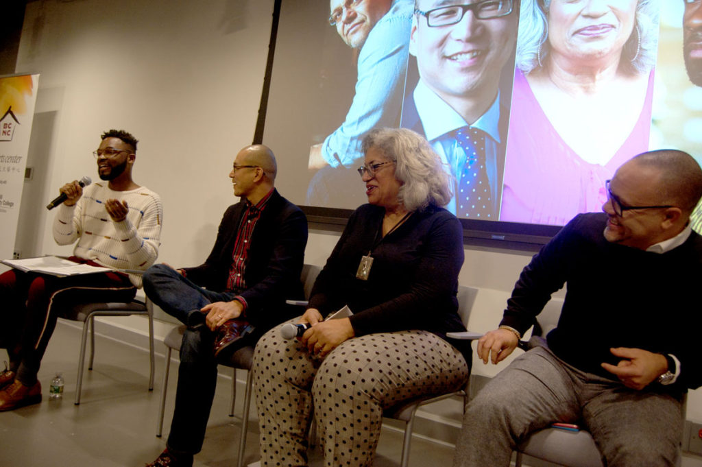 At ArtsBoston's Network for Arts Administrators of Color talk, (from left) Todd McNeel, Ben Hires, Candelaria Silva-Collins and Christopher Edwards spoke. Dec. 12, 2017. (Greg Cook)