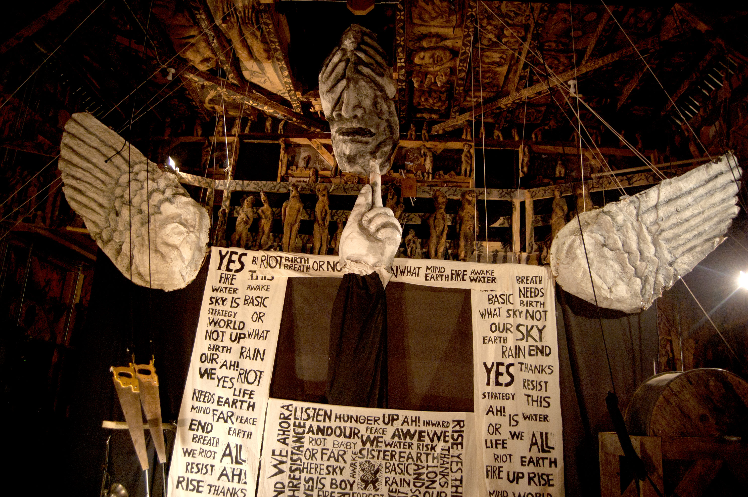 "Bread and Puppet Theater performs ""Basic Bye-Bye"" at its Paper Mache Cathedral in Glover, Vermont, Aug. 19, 2017. (Greg Cook)"
