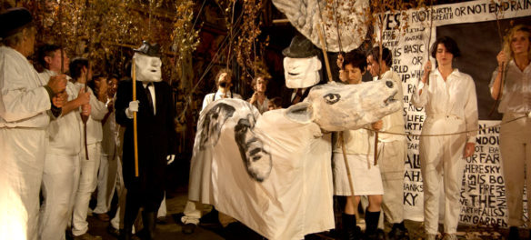 """Bread and Puppet Theater performs """"Basic Bye-Bye"""" at its Paper Mache Cathedral in Glover, Vermont, Aug. 19, 2017. (Greg Cook)"""
