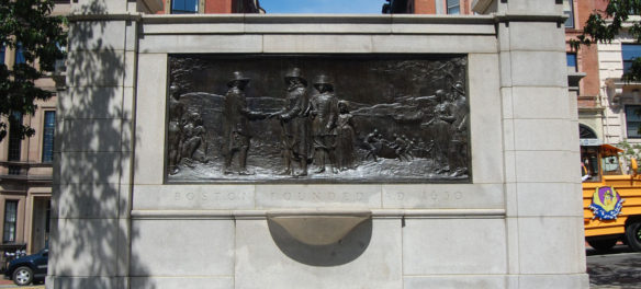 Founders Memorial by John Francis Paramino, 1930, on Boston Common at Beacon and Spruce Streets. (Greg Cook)