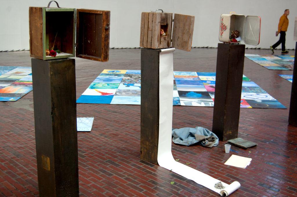"""Medicine Wheel"" shrines at Boston Center for the Arts Cyclorama, Dec. 1, 2017. (Greg Cook)"