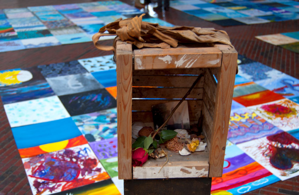 """Medicine Wheel"" shrine at Boston Center for the Arts Cyclorama, Dec. 1, 2017. (Greg Cook)"
