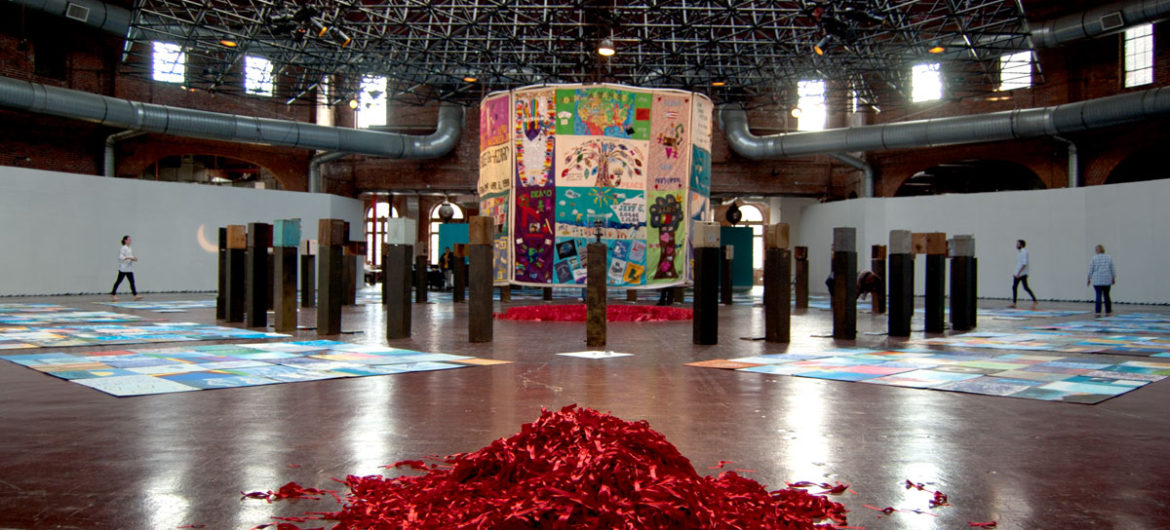 """""""Medicine Wheel,"""" artist Michael Dowling's annual 24-hour shrine and vigil to mark the Day Without Art and World AIDS Day and honor the millions of people we've lost to the disease, at the Boston Center for the Arts Cyclorama, Dec. 1, 2017. (Greg Cook)"""