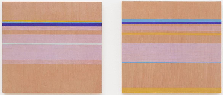 "Rose Olson, ""Orange Flash"" and ""Turquoise Echo,"" each 11"" x 12"" acrylic on wood. (Courtesy of the artist)"