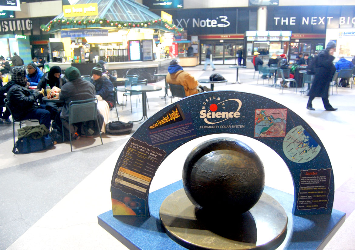 """Jupiter from the Museum of Science's """"Community Solar System"""" at Boston's South Station, Jan. 1, 2014. (Greg Cook)"""